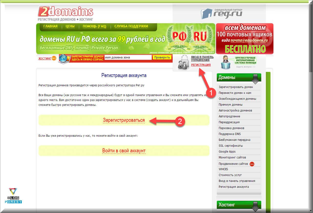Регистрация на сайте 2domain.ru
