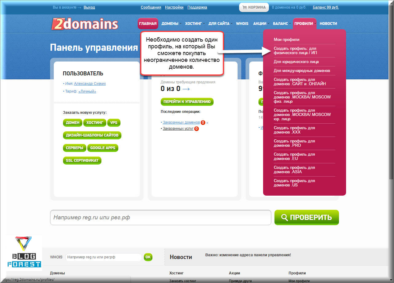 2domain.ru Профиль