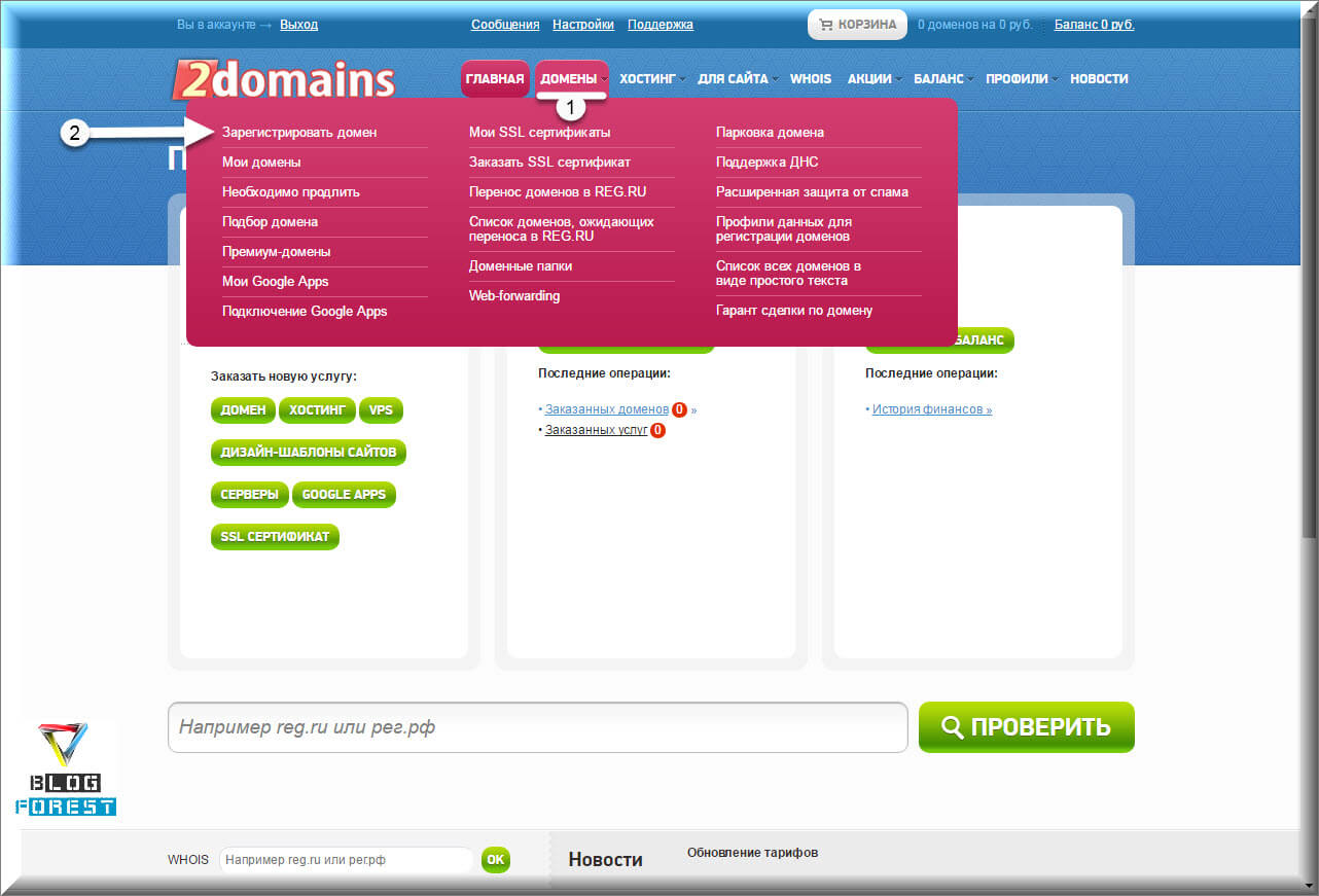 Меню зарегистрировать домен
