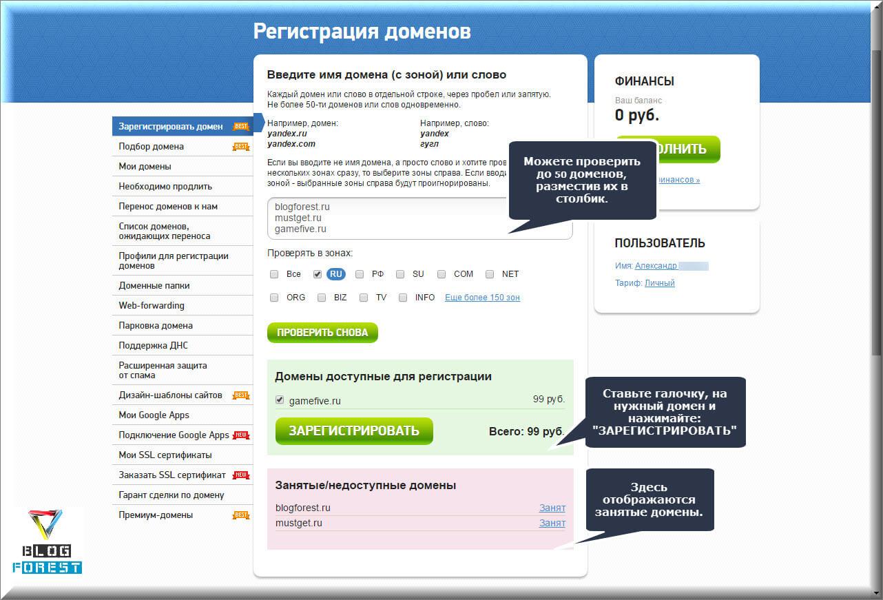Регистрация домена 2domains.ru