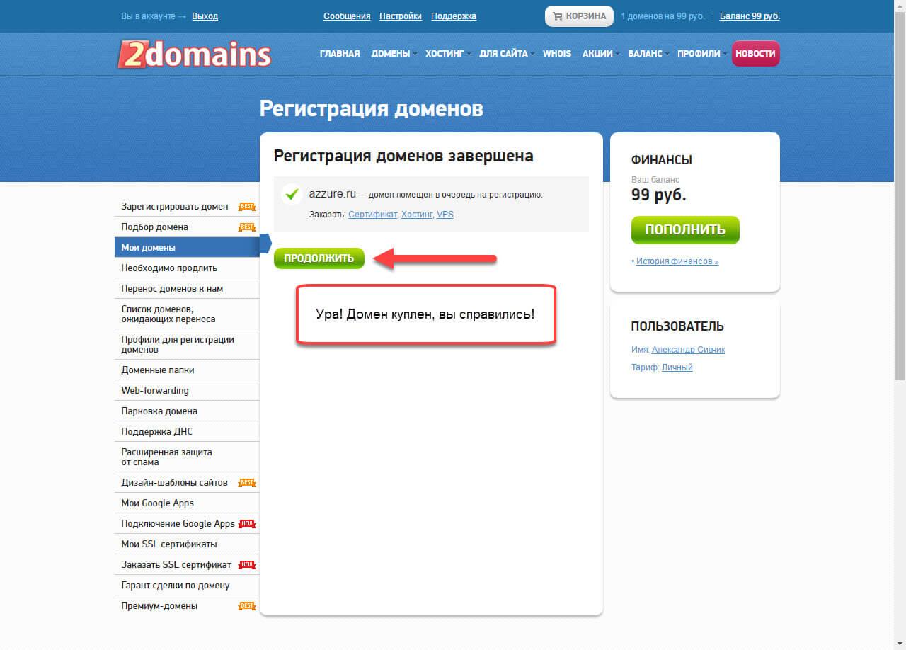 Регистрация домена успешна в 2domains.ru