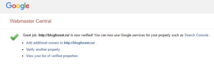 Подтверждение верификации Google