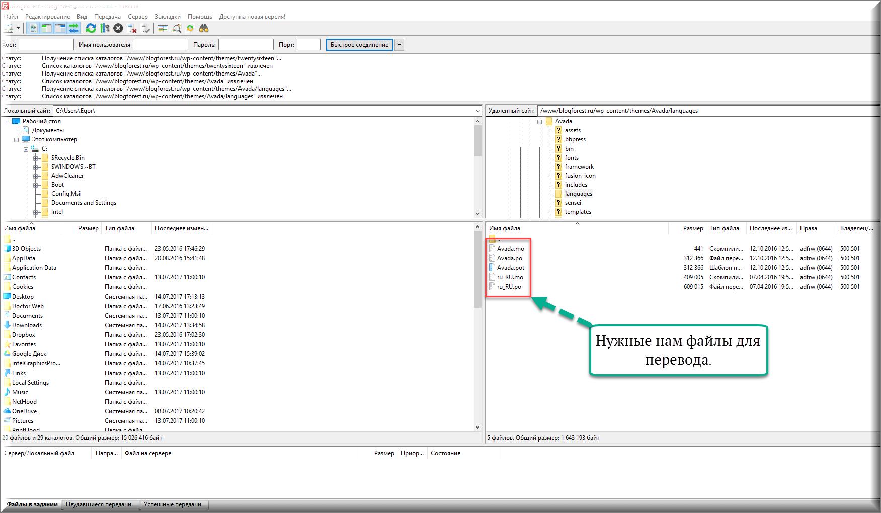 FilleZilla -файлы для перевода темы